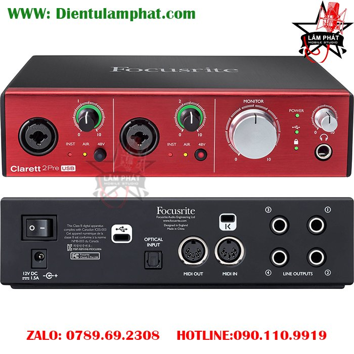 Sound Card Focusrite Clarett 2Pre USB