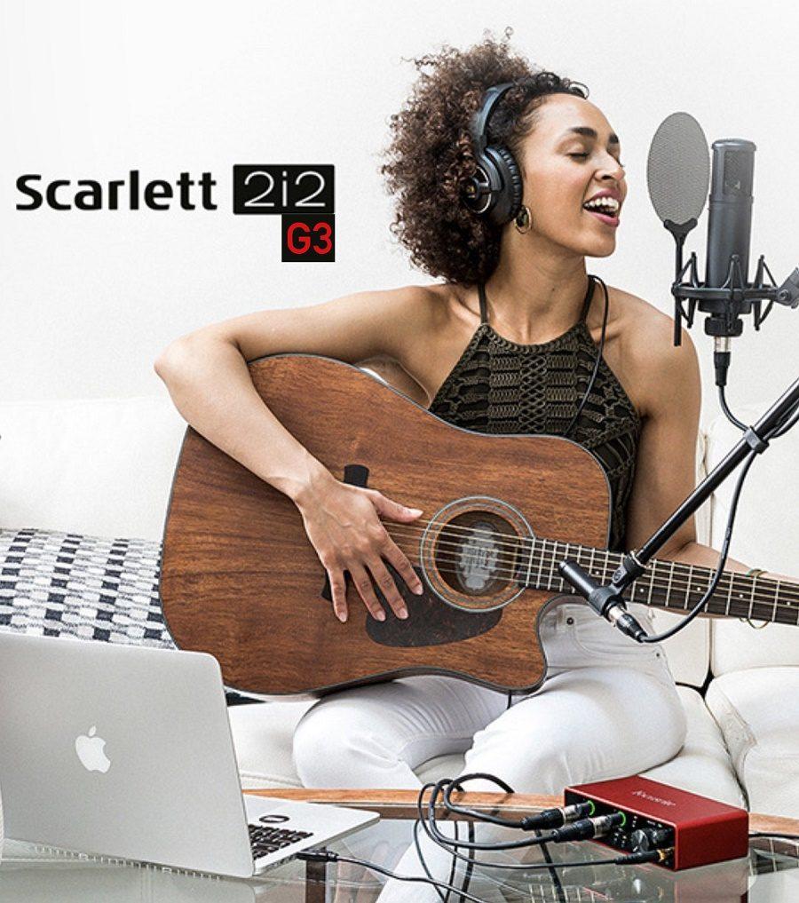 Bộ Sound Card Focusrite 2i2 Gen 3 Và Mic AT2020