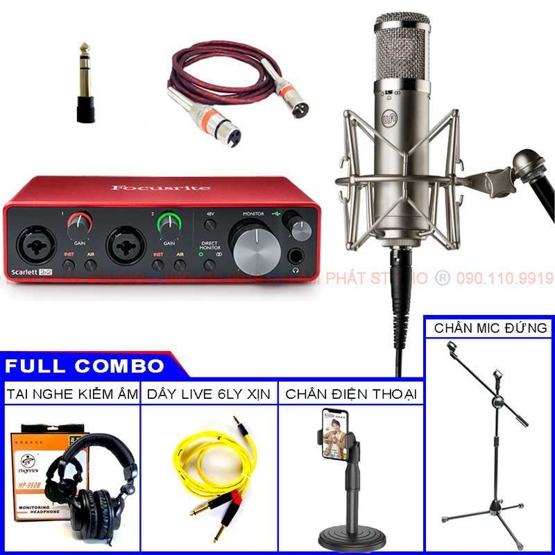 Combo Focusrite 2i2 3rd Và Mic Warm Audio WA-47JR FET